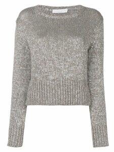 Fabiana Filippi cropped round neck sweater - Brown