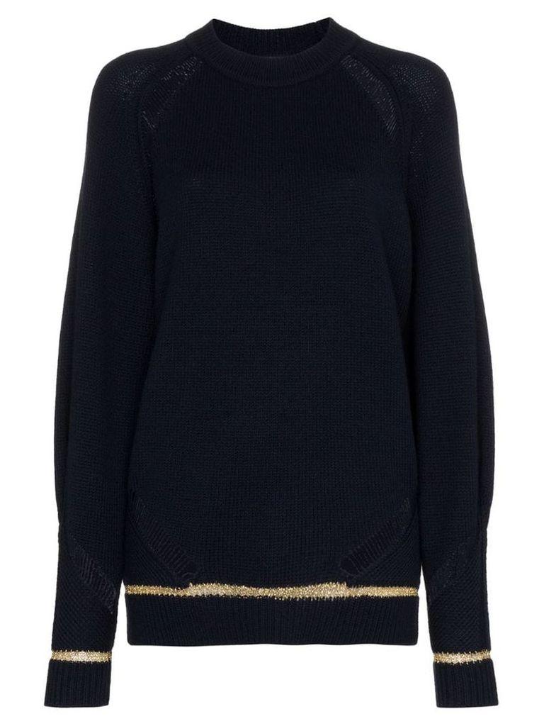 See By Chloé distressed lurex stripe wool blend jumper - Blue