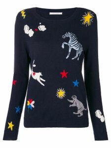 Chinti & Parker embroidered fitted sweater - Blue