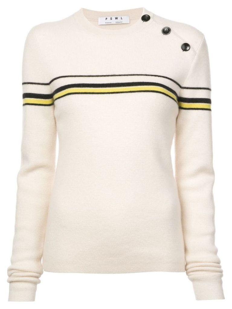 Proenza Schouler PSWL Merino Cashmere Stripe Sweater - White