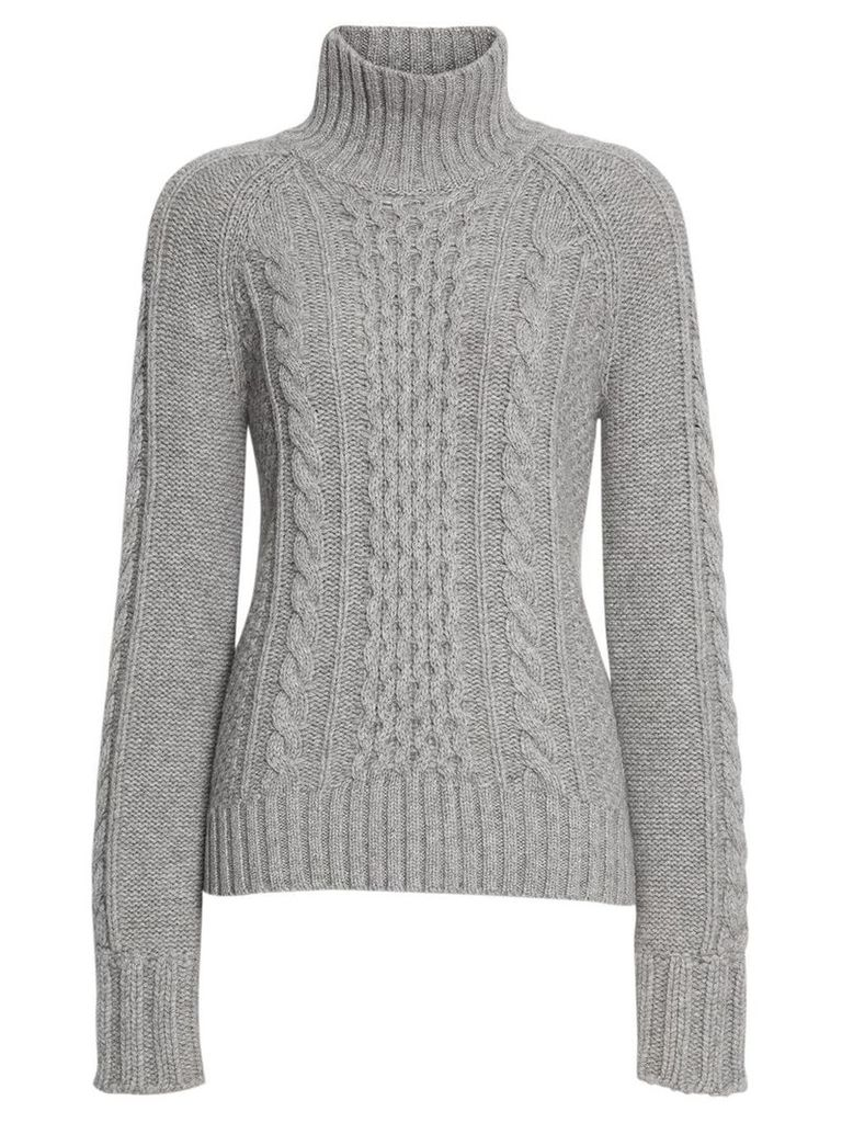 Burberry Cable Knit Cashmere Turtleneck Sweater - Grey