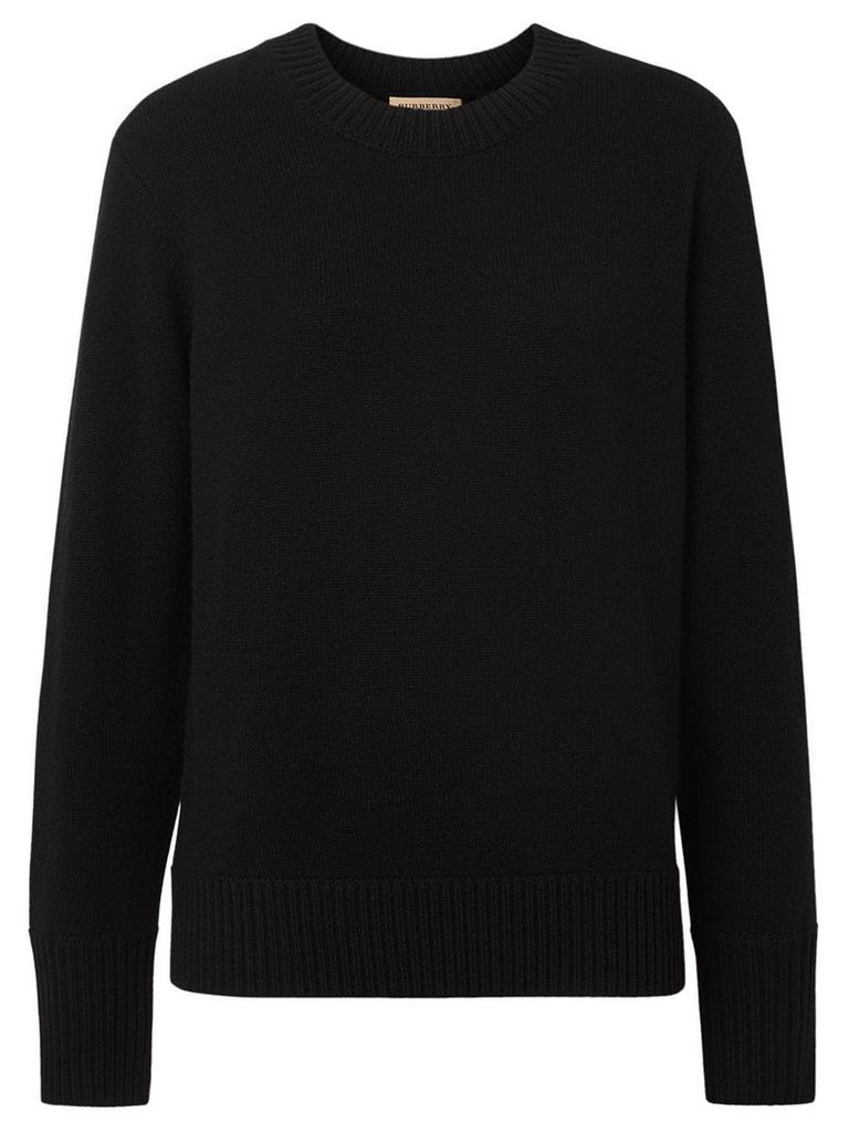 Burberry Embroidered Crest Cashmere Sweater - Black