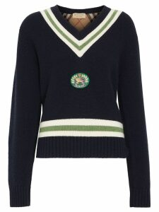 Burberry Embroidered Crest Wool Cashmere Sweater - Blue