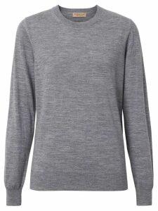 Burberry Vintage Check Detail Merino Wool Sweater - Grey