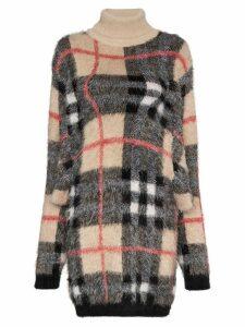 Y/Project turtleneck check knit dress - Neutrals
