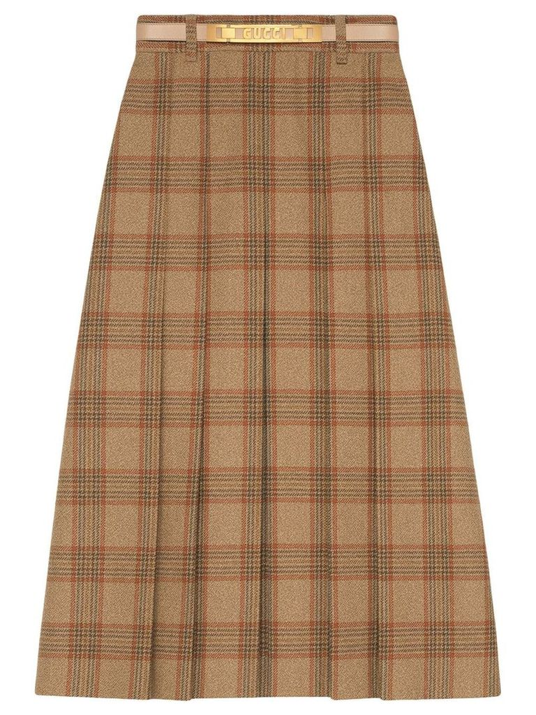 Gucci Check wool A-line skirt - Brown