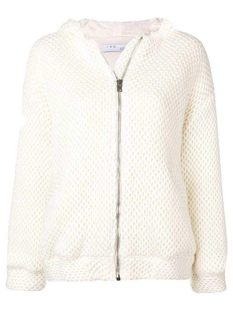 Iro knitted zip-up hooded jacket - Neutrals
