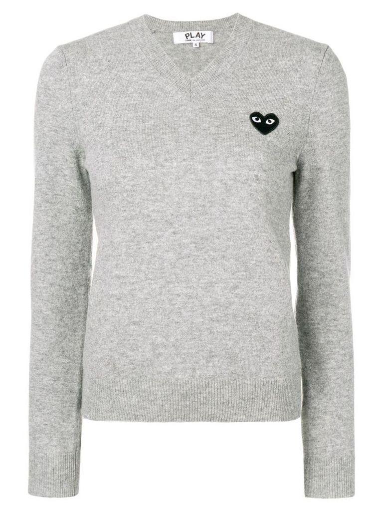 Comme Des Garçons Play heart patch pullover - Grey