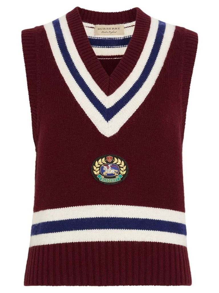 Burberry Embroidered Crest Wool Cashmere Tank Top