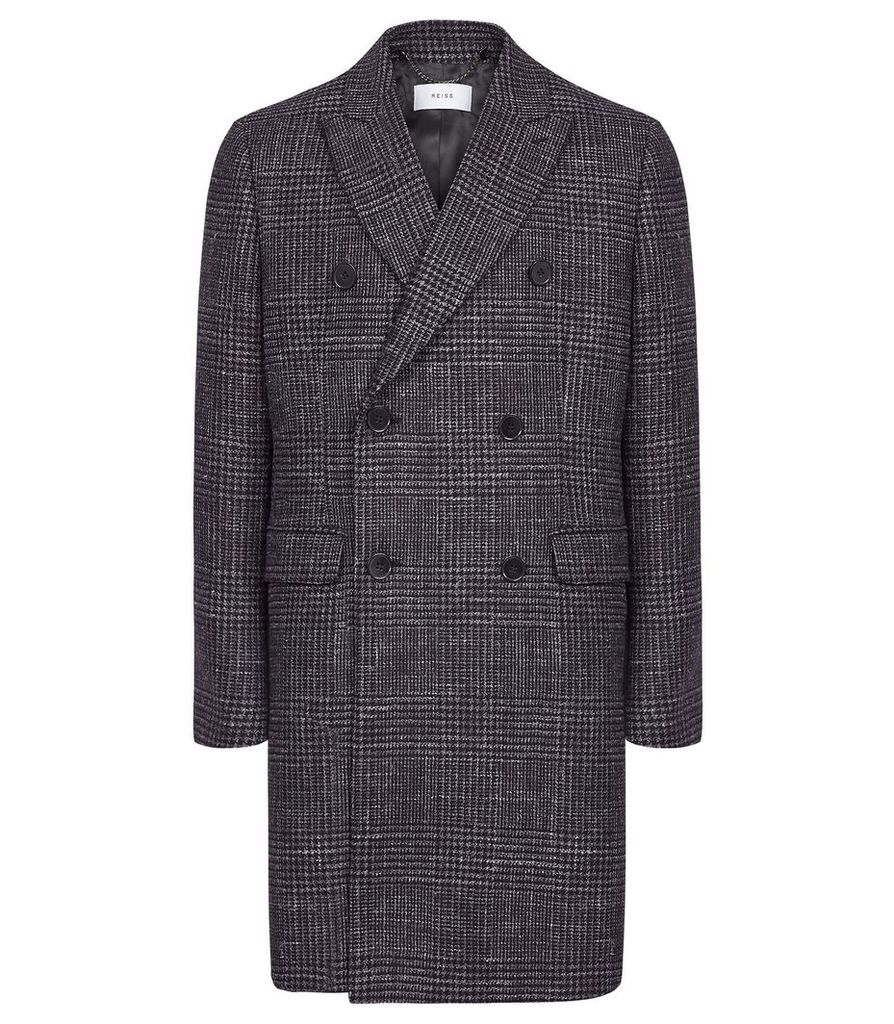Reiss Francisco - Wool Blend Double Breasted Overcoat in Blue, Mens, Size XXL