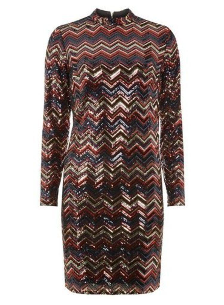 Womens Multi Coloured Chevron Stripe Bodycon Dress- Multi Colour, Multi Colour