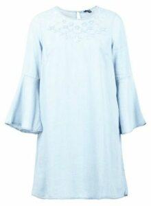 Womens *Izabel London Blue Embroidered Smock Dress- Blue, Blue