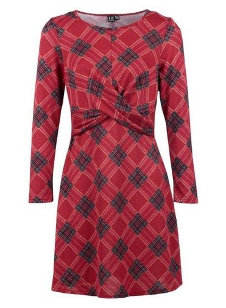Womens *Izabel London Multi Colour Checked Tie Waist Shift Dress- Wine, Wine