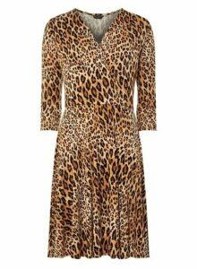 Womens Camel Leopard Print Wrap Dress- White, White