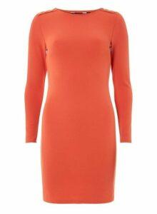 Womens Orange Button Shoulder Bodycon Dress- Red, Red