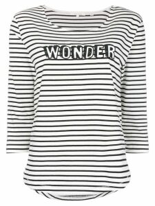 Chinti & Parker slogan striped fitted top - White
