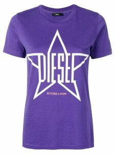 Diesel logo star print T-shirt - Purple