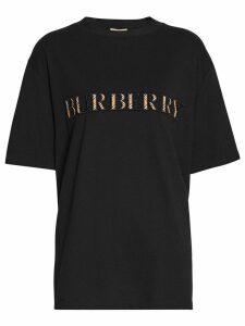 Burberry Check Logo Cotton T-shirt - Black