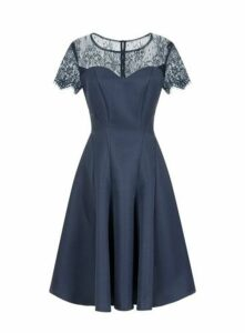 **Chi Chi London Navy Blue Lace Skater Dress, Navy