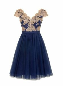 **Chi Chi London Navy Blue Embroidered Dress, Navy