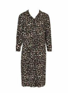 Black Leopard Print Shirt Dress, Beige/Natural