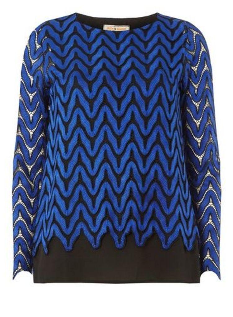 Womens **Billie & Blossom Cobalt Long Sleeve Wave Top- Cobalt, Cobalt