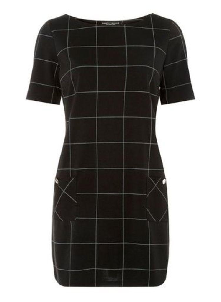 Womens Monochrome Checked Tunic Top- Black, Black