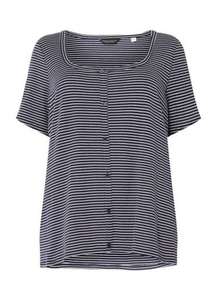 Womens **Dp Curve Navy And White Stripe Button Down Rib T-Shirt- Blue, Blue