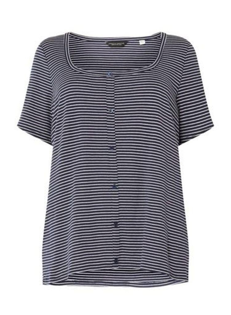 Womens **Dp Curve Navy And White Stripe Button Down Rib T-Shirt- Blue, Blue