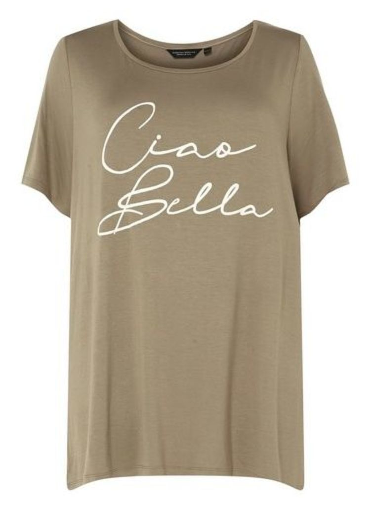 Womens **Dp Curve Khaki 'Ciao Bela' Slogan T-Shirt- Khaki, Khaki