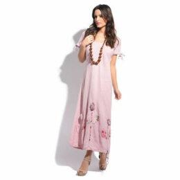 Lin Nature  Dress  women's Long Dress in Pink