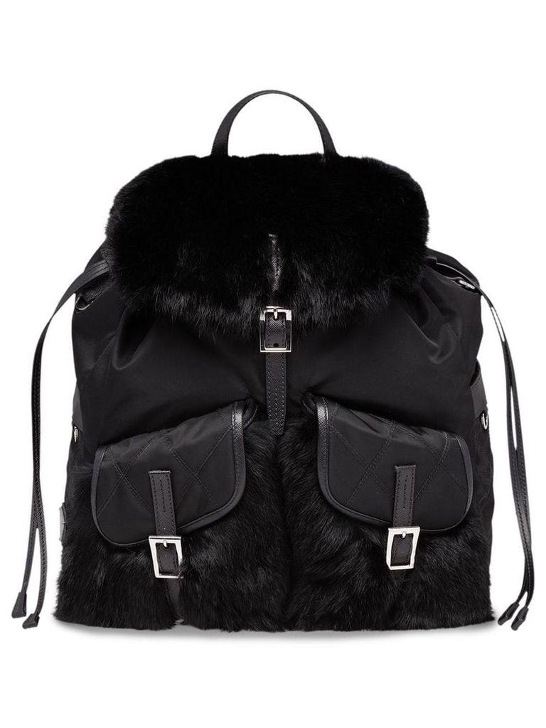 Prada Saffiano and fur trimmed backpack - Black