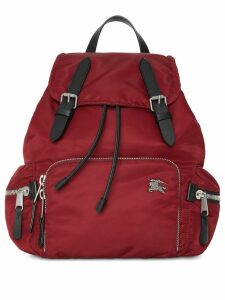 Burberry The Medium Rucksack in Nylon and Leather - Red