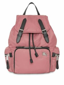 Burberry The Medium Rucksack in Puffer Nylon and Leather - Pink