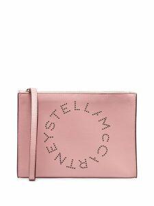 Stella McCartney baby pink zipped logo clutch