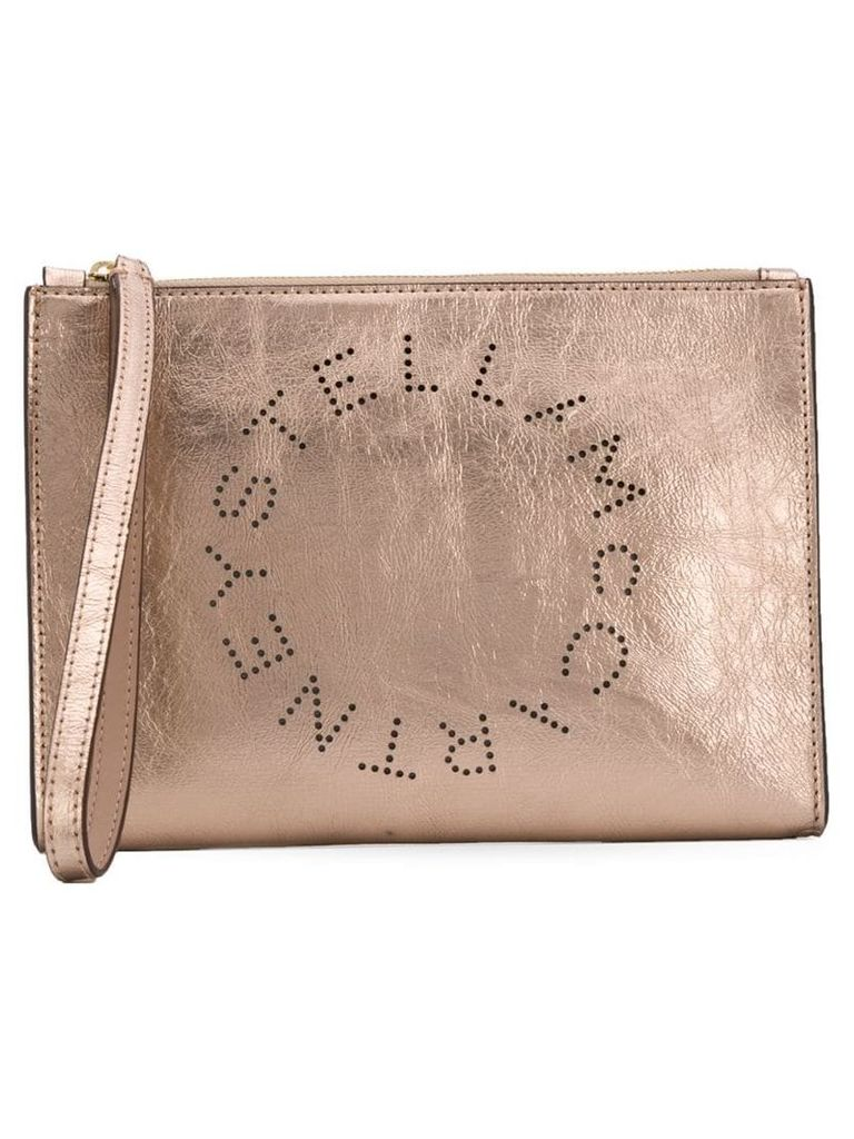 Stella McCartney Stella logo clutch - Gold