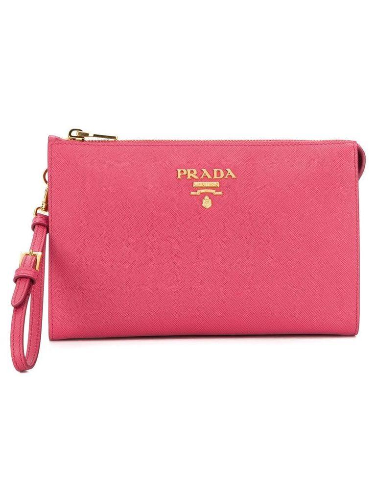 Prada logo plaque clutch bag - Pink