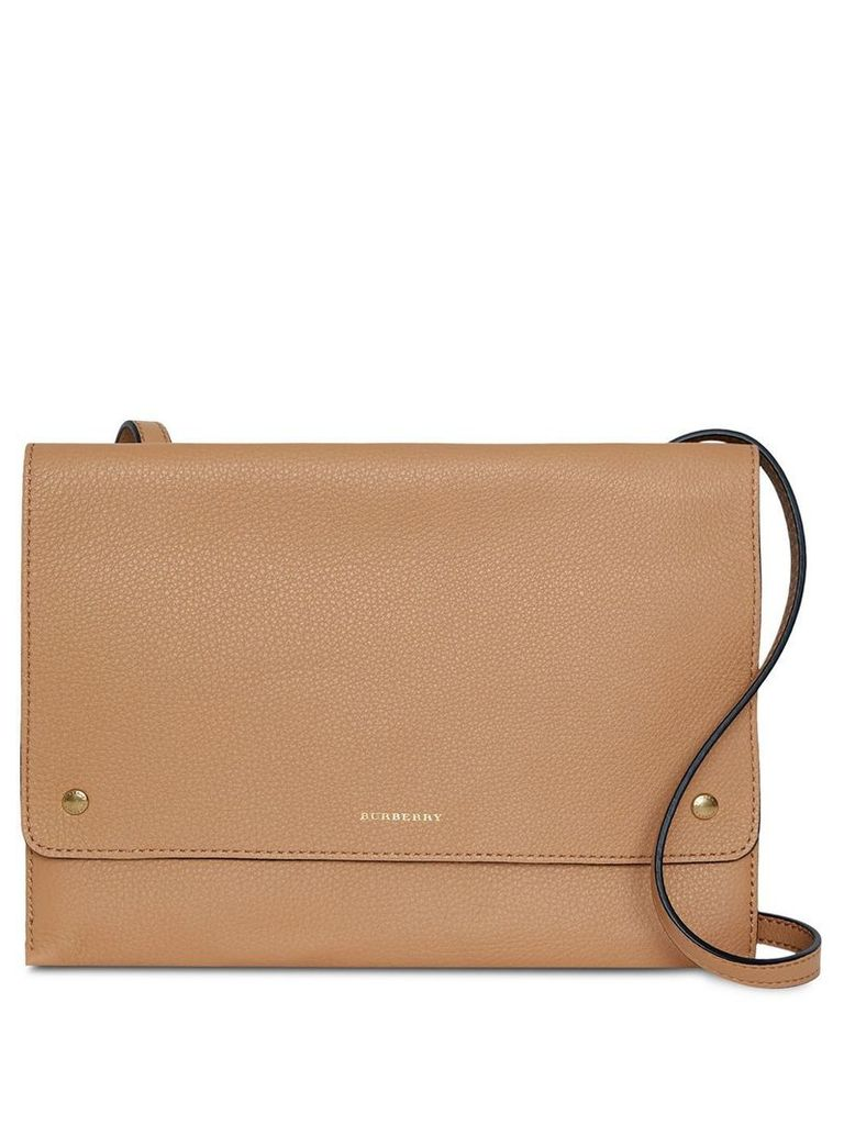 Burberry Leather Pouch with Detachable Strap - Neutrals