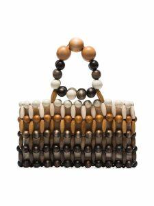 Cult Gaia Brown Cora Bamboo Clutch