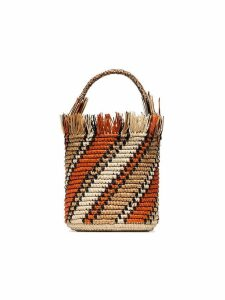 Sensi Studio orange striped bucket bag