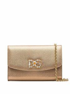 Dolce & Gabbana embellished logo crossbody bag - Metallic