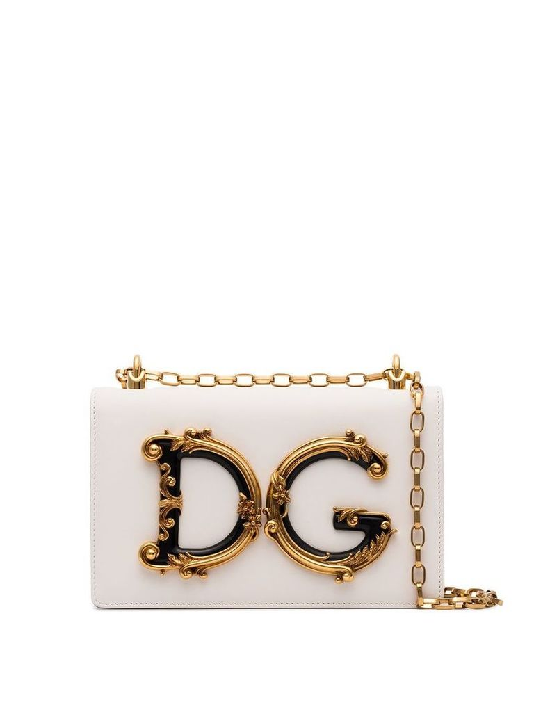 Dolce & Gabbana Baroque DG logo shoulder bag - White