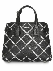 Burberry The Baby Banner in Link Print Leather - Black