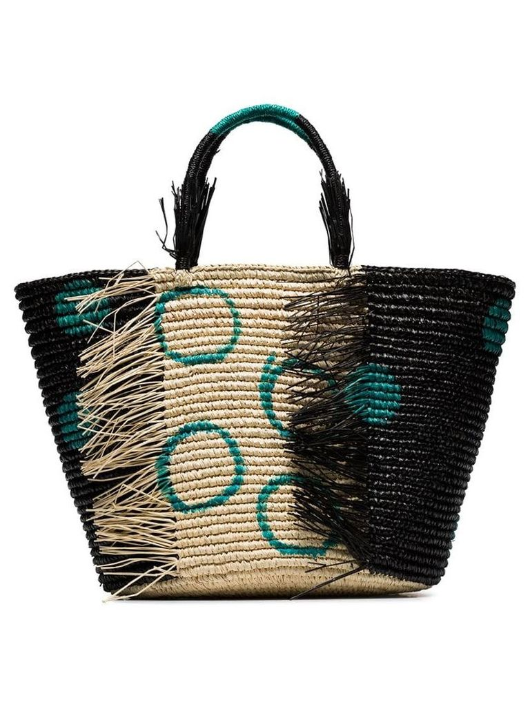 Sensi Studio black and green straw tote bag
