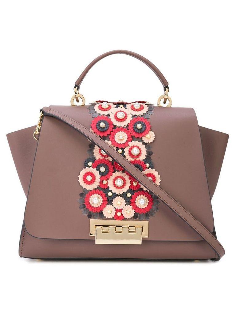 Zac Zac Posen Eartha floral applique bag - Brown
