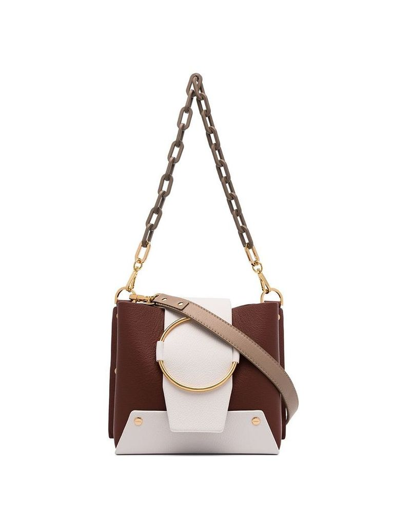 Yuzefi Brown and white Delila Leather Crossbody Bag