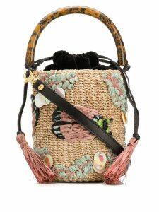 ARANÁZ embroidered bucket bag - Neutrals