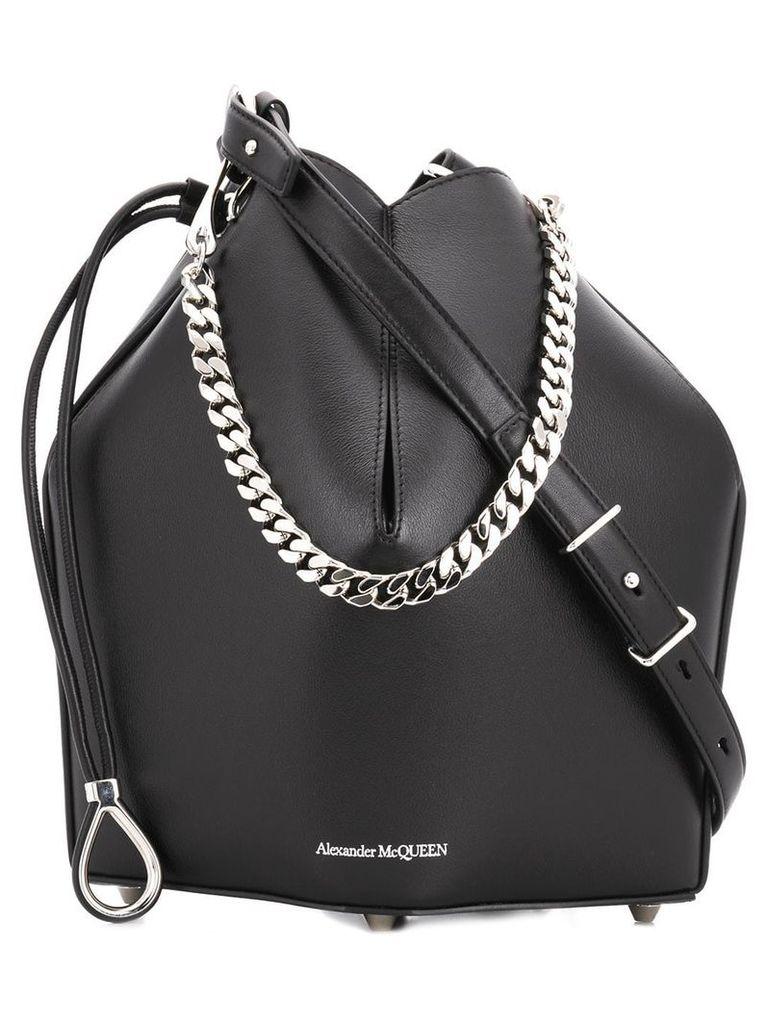 Alexander McQueen chain style bucket bag - Black