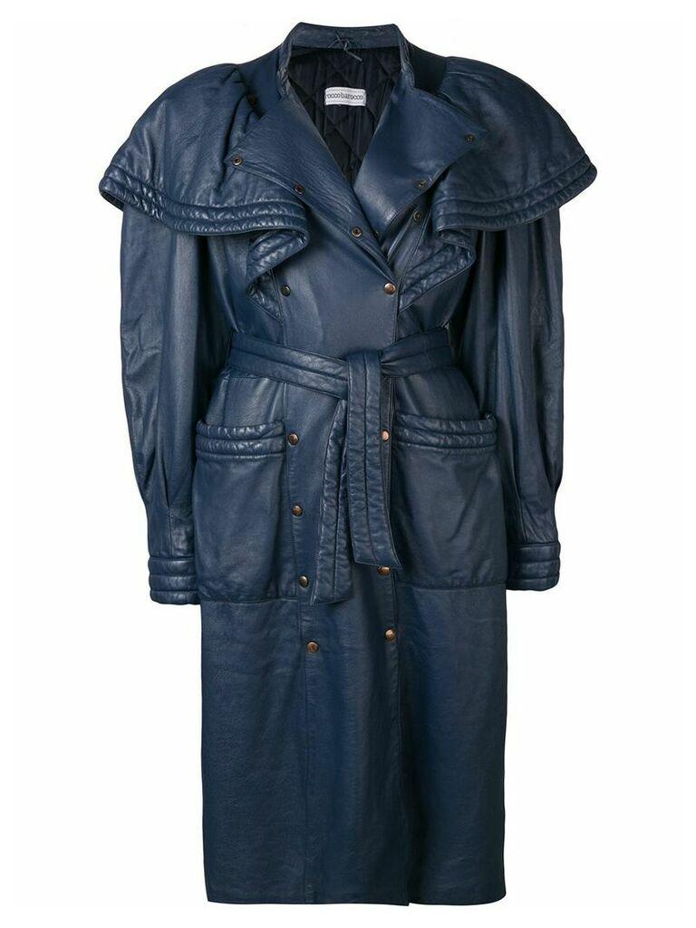 Rocco Barocco Vintage 1980's oversized shoulders coat - Blue