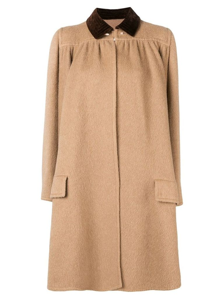 Valentino Vintage 1970's draped flared coat - Neutrals